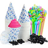 Set of 406- 200 Snow Cone Cups 6 Oz, and 200 Sno-Cone Spoon Drinking Straws, Assorted Neon Colors, and 6 Free Flow Pourers,