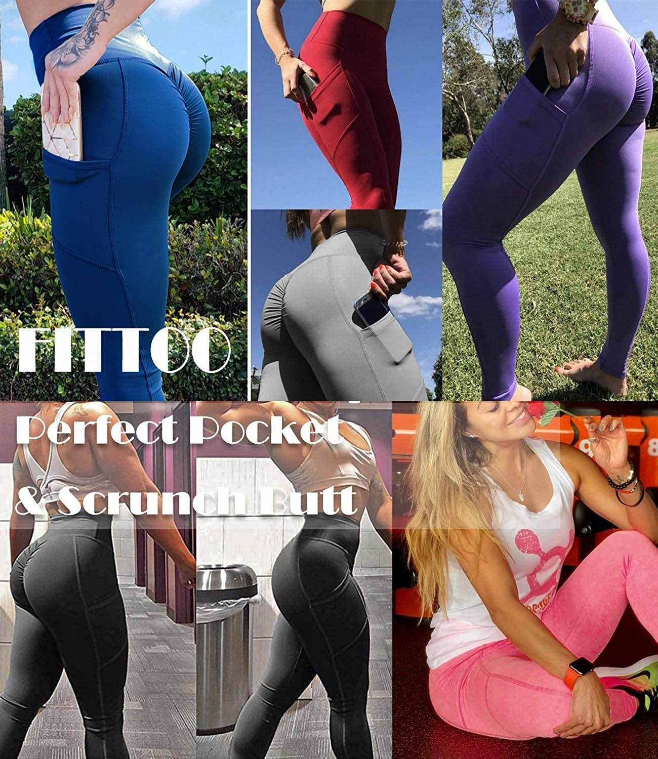 Amazon.com: FITTOO Womens Ruched Yoga Pants Pocket Workout ...