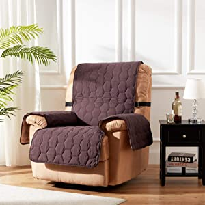 SunStyle Home Recliner Slipcover Furniture Protector 100% Waterproof Honeycomb Quilted Couch Cover with Adjustable Elastic Strap and Non-Slip Backing - Chocolate/Beige