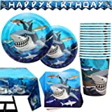 102 Piece Shark Party Supplies Set Including Banner, Plates, Cups, Napkins, Tablecloth, Serves 25