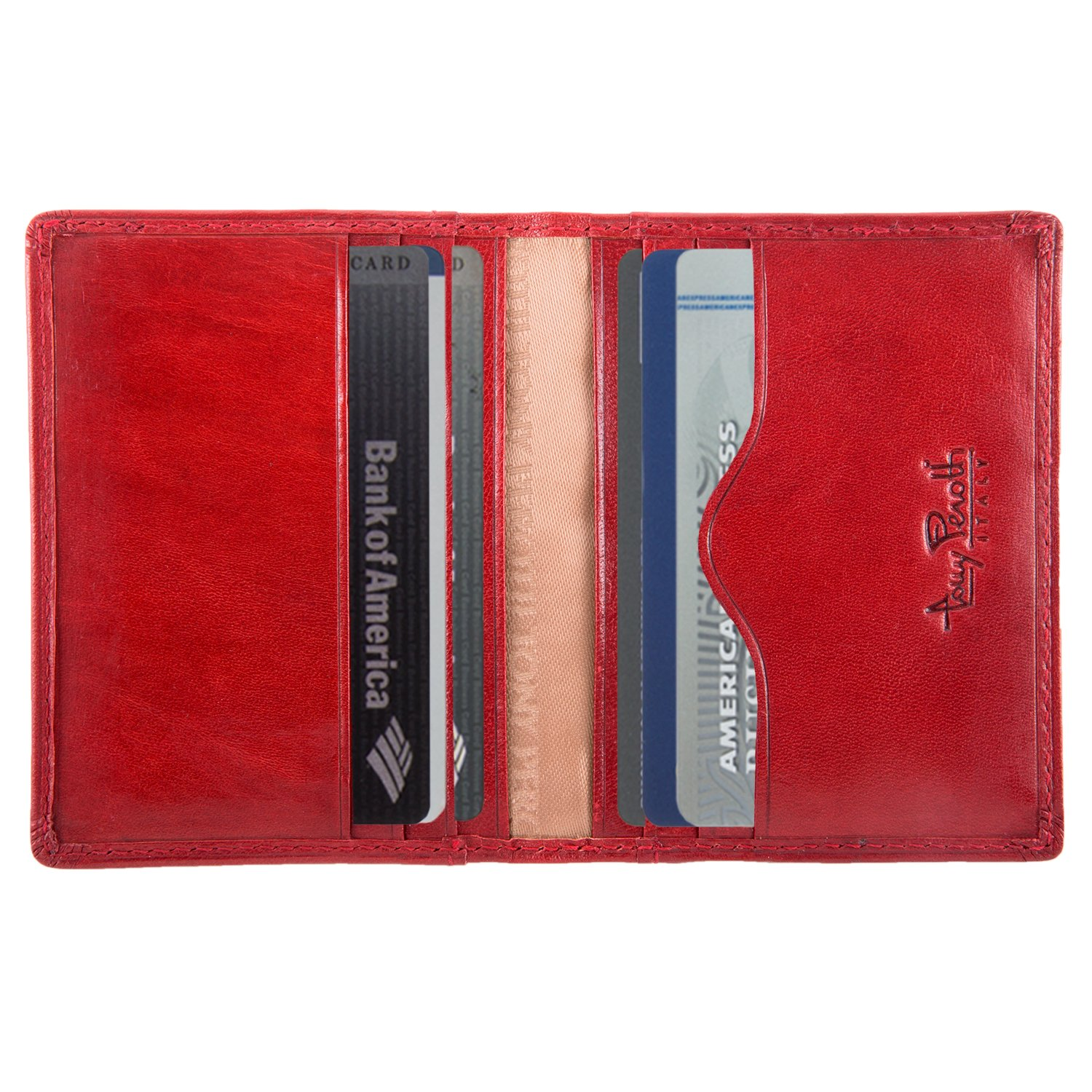 Men's Italian Bull Leather Thin Bifold Credit Card Holder Wallet