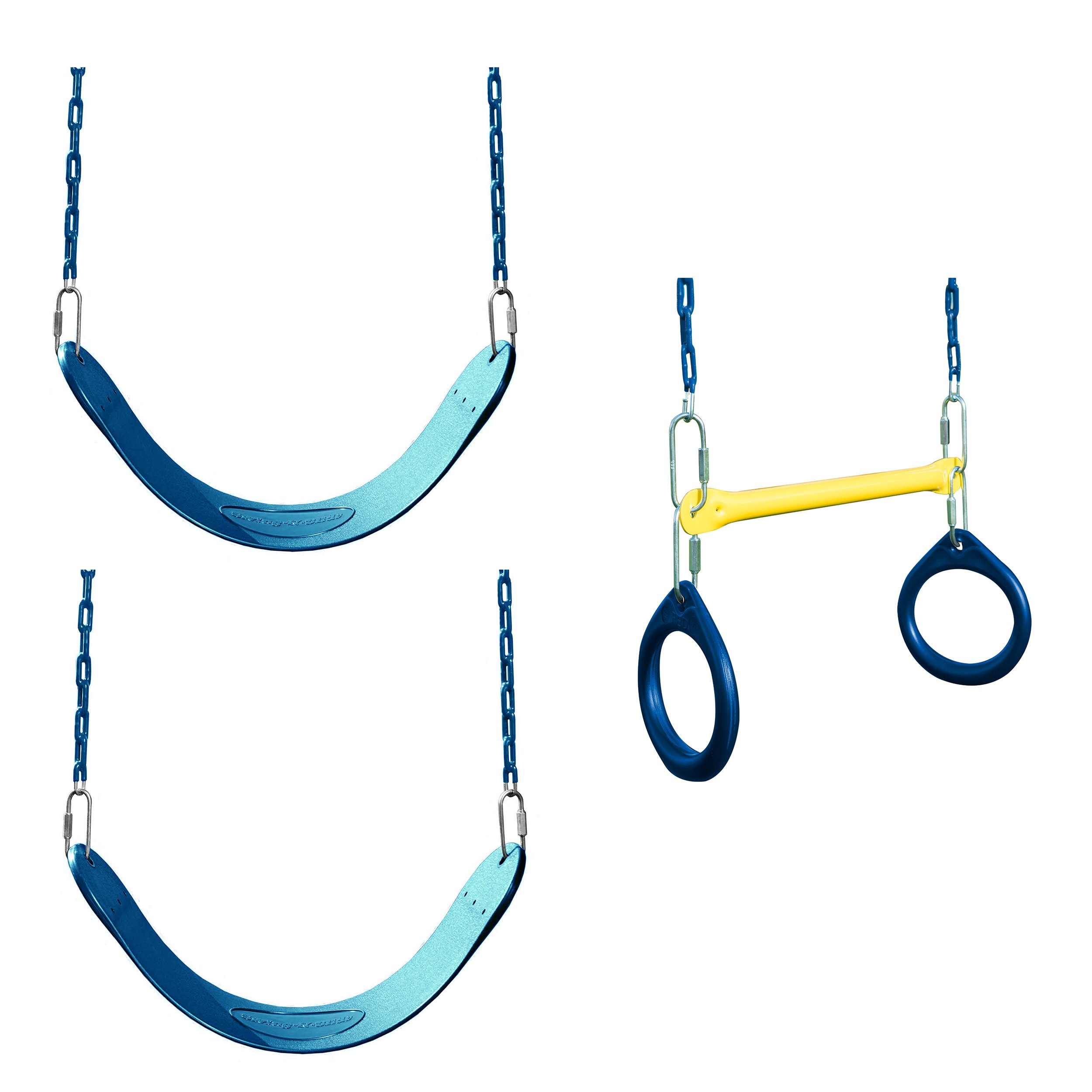 Swing Seat and Ring/Trapeze Bundle - Includes 2 Blue Belted Swing Seats and a Trapeze Combo Swing for Swing Sets, Play Sets, etc. by Swing-N-Slide (Image #1)