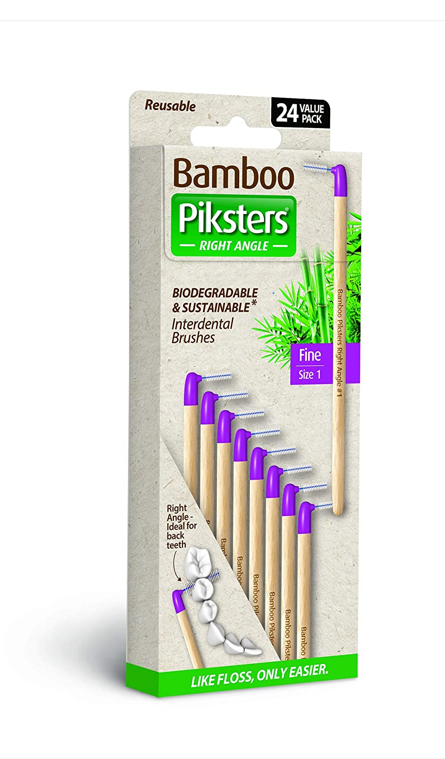 Bamboo Piksters Interdental Brushes | Sizes 00-5 | Right Angle Handle | 24 Pack (24 Pack, Size 1 (Purple))
