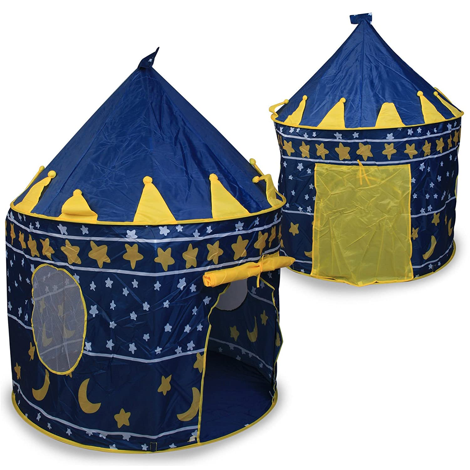 Global Sales Store - Prince or princess summer Palace Castle Children kids Play Tent house indoor or outdoor garden toy wendy house playhouse beach sun tent boys girls (Blue Wizard)