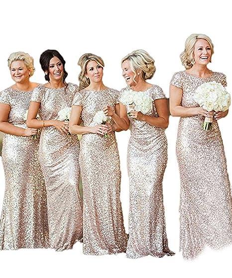 3707d2e8a35f LEJY Women s Sequin Gold Long Bridesmaid Dress Short Sleeve Wedding Party  Dress Gold 2