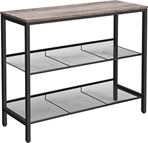 HOOBRO Console Table, Sofa Table with 2 Flat or Slant Adjustable Mesh Shelves, Hallway Table and Sideboard, for Entryway, Living Room, Corridor, Easy Assembly, Industrial, Greige and Black BG01XG01