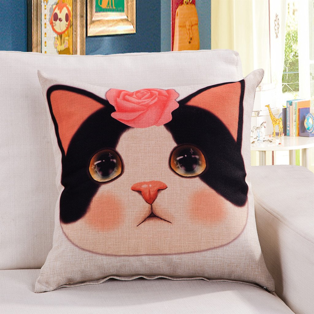 ChezMax Linen Blend Black Cats and White Pattern Cushion Cover Cotton Pillowslip Square Decorative Throw Pillow Case 18 X 18 CM-MY-A1036-001