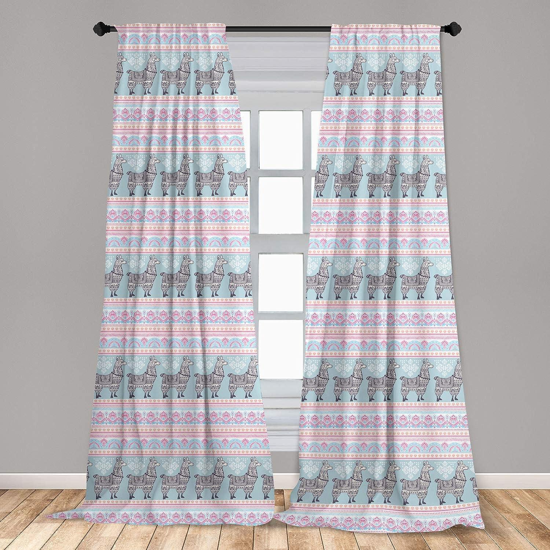 Ambesonne Llama 2 Panel Curtain Set, Horizontal Borders with Patterned Alpaca Animal and Folkloric Ornaments, Lightweight Window Treatment Living Room Bedroom Decor, 56