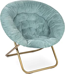 Milliard Cozy Chair/Faux Fur Saucer Chair for Bedroom/X-Large (Blue)