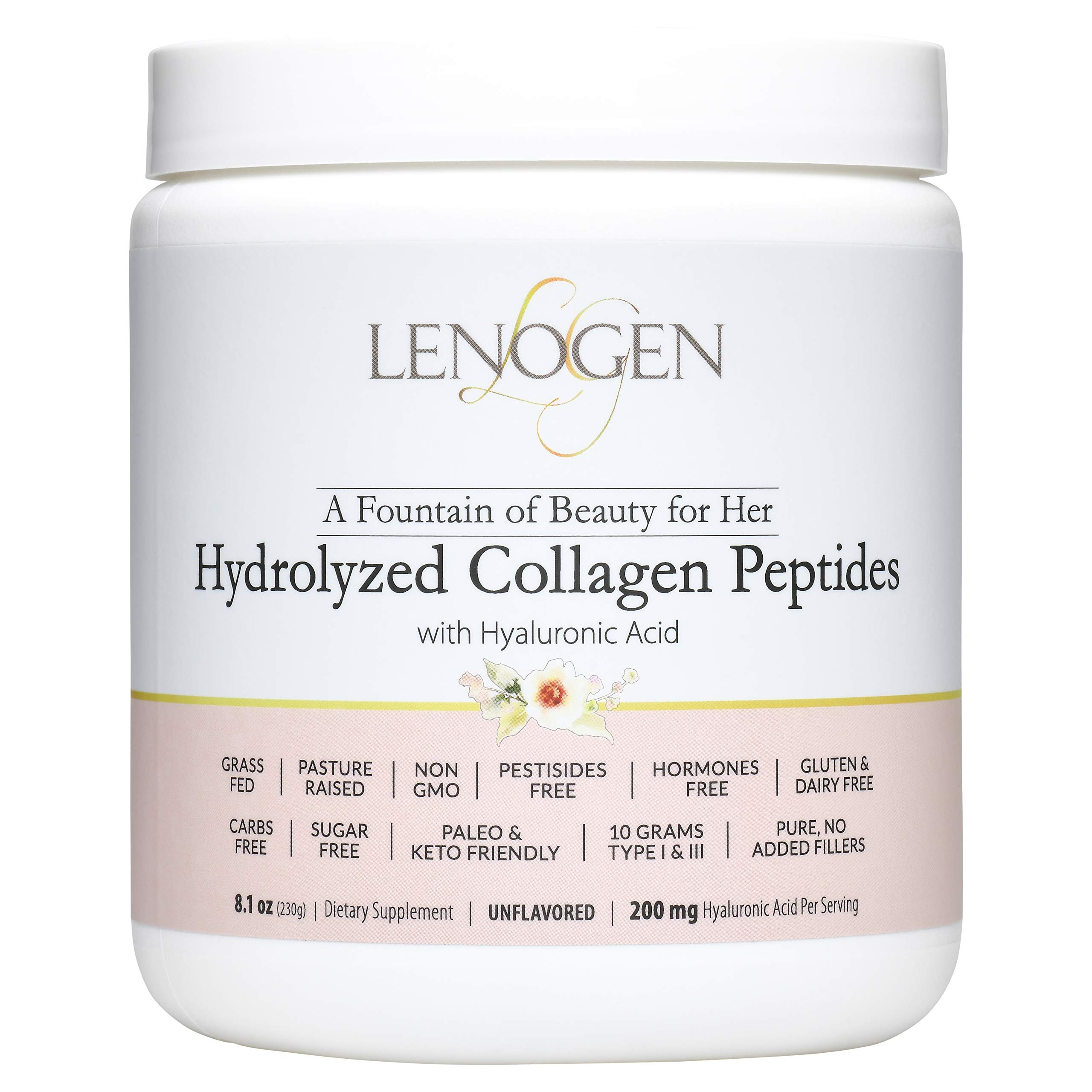 Collagen for Women Anti Aging, Anti Wrinkles, Hair Skin & Nails, Grass Fed, Non-GMO, Zero Fillers, Sugar & Carbs Free, Paleo & Keto Diets Friendly, Peptides & Hyaluronic Acid, Unflavored by Lenovie