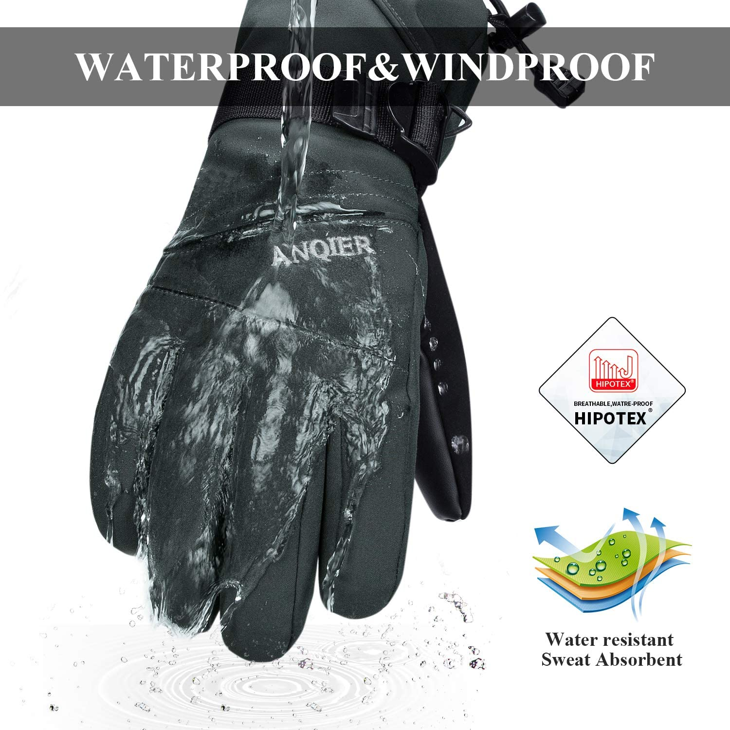 Anqier Ski Gloves Waterproof Winter Snow Gloves Snowboard Gloves 3M Thinsulate Cold Weather Gloves for Men Women