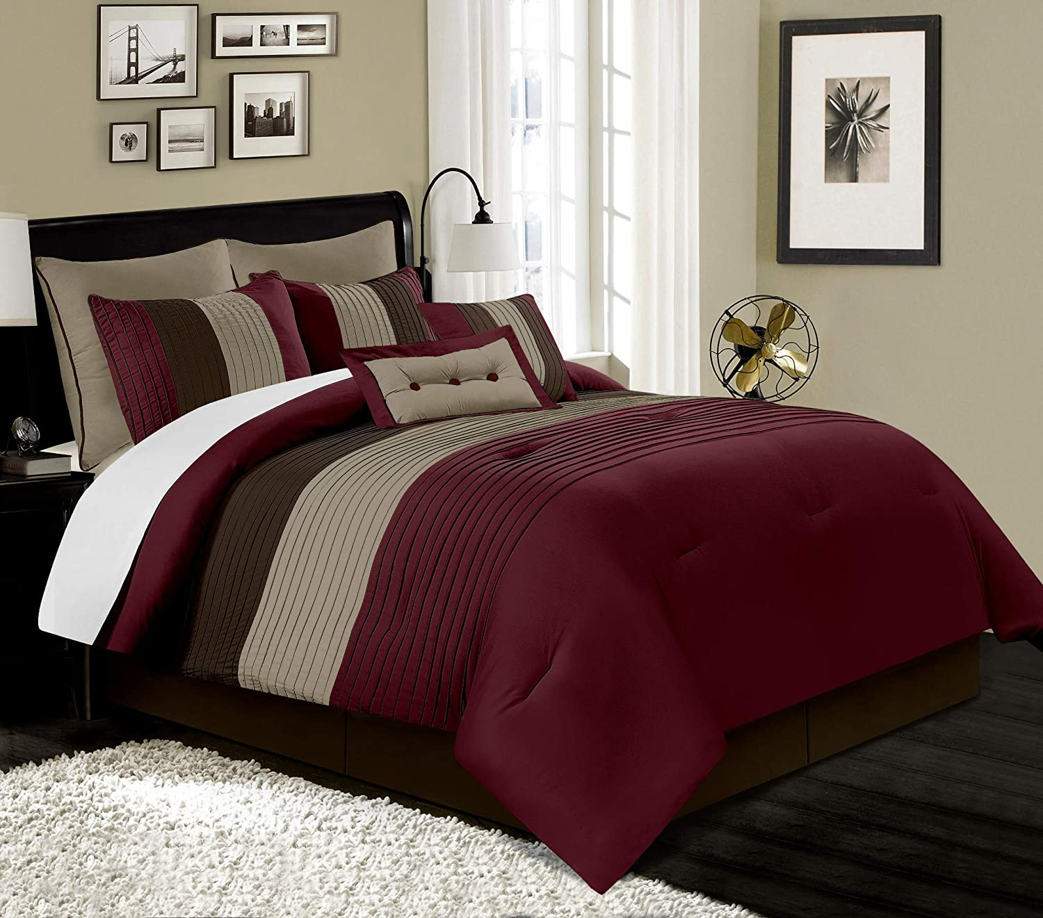 Queen, Burgundy/Brown/Coffee Comforter Set