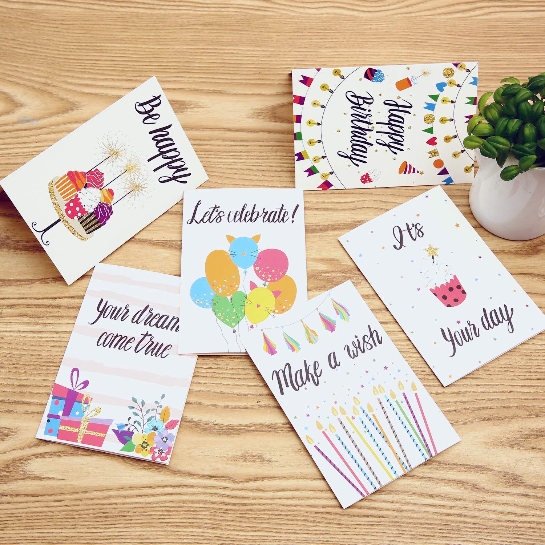 48 Cartoline di Auguri Scritte Colorate Vuoto allinterno Biglietto per auguri Buste e Adesivi Bianchi con Design a Candela Scintilla Torta Ohuhu Cartoline Pieghevole Regalo Palloncino