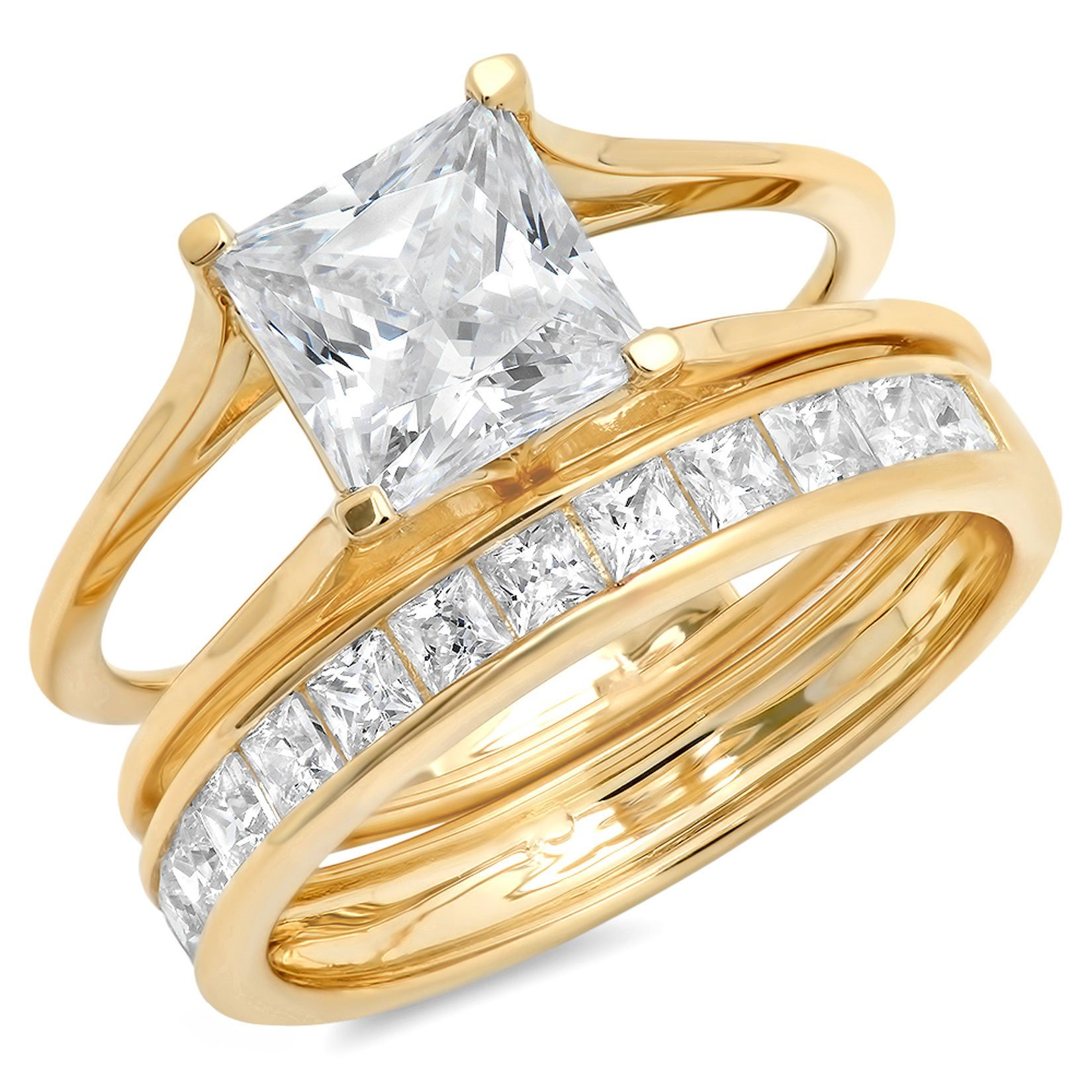 3.40ct Princess Cut Pave Solitaire with Accent Highest Quality Moissanite & Simulated Diamond Engagement Promise Statement Anniversary Bridal Wedding Ring Sliding Band set Real 14k Yellow Gold Sz 8 by Clara Pucci