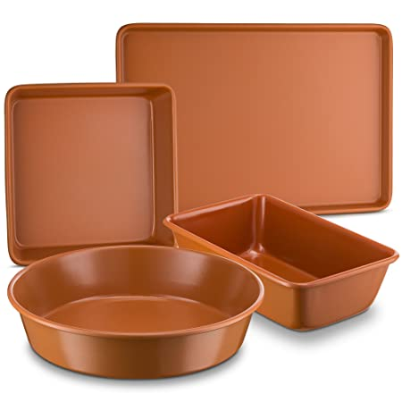 Ceramic Coated Copper Bakeware 4 Piece Set 9 Round, 9 x13 Rectangle, 9 Square And Loaf Pan – Nonstick, Dishwasher Safe, PTFE PFOA Free – Red Bakeware by Bovado USA