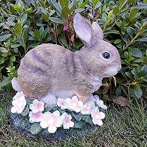 Rabbit Garden Figurines Outdoor Decor, Garden Art Outdoor with Solar LED Lights Garden Decor ,Outdoor Solar Statue for Patio,Lawn ,Yard Art Decoration , Housewarming Garden Gift