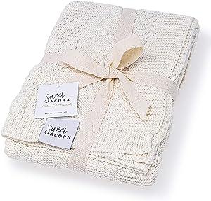 Sweet Acorn Knitted Baby Blanket, Organic Cotton Yarn, (Salt White)