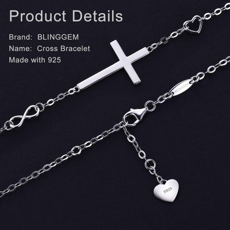 BlingGem Religious Cross Bracelet in Good Faith Bracelet 925 Sterling Silver Christian Infinity Classic Baptism Gift for Teen Girls Jewelry for Women by BlingGem (Image #3)