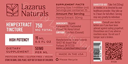 750 mg High Potency Lazarus Naturals Hemp Seed Oil & Hemp Extract Tincture  - for Pain Relief