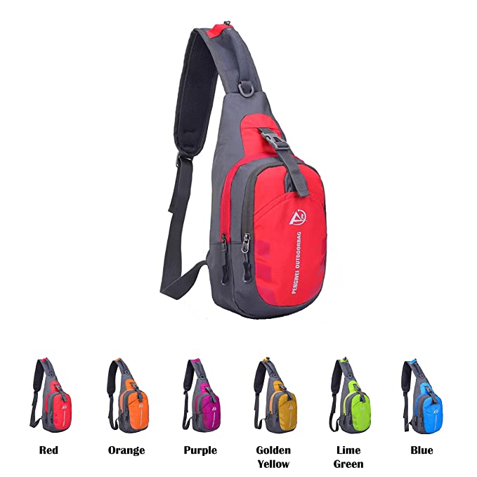 cfd9cf7e9f37 Queenie - Unisex Water Resistant Sling Bag Outdoor Shoulder Backpack Chest  Pack Cross Body Daypacks (