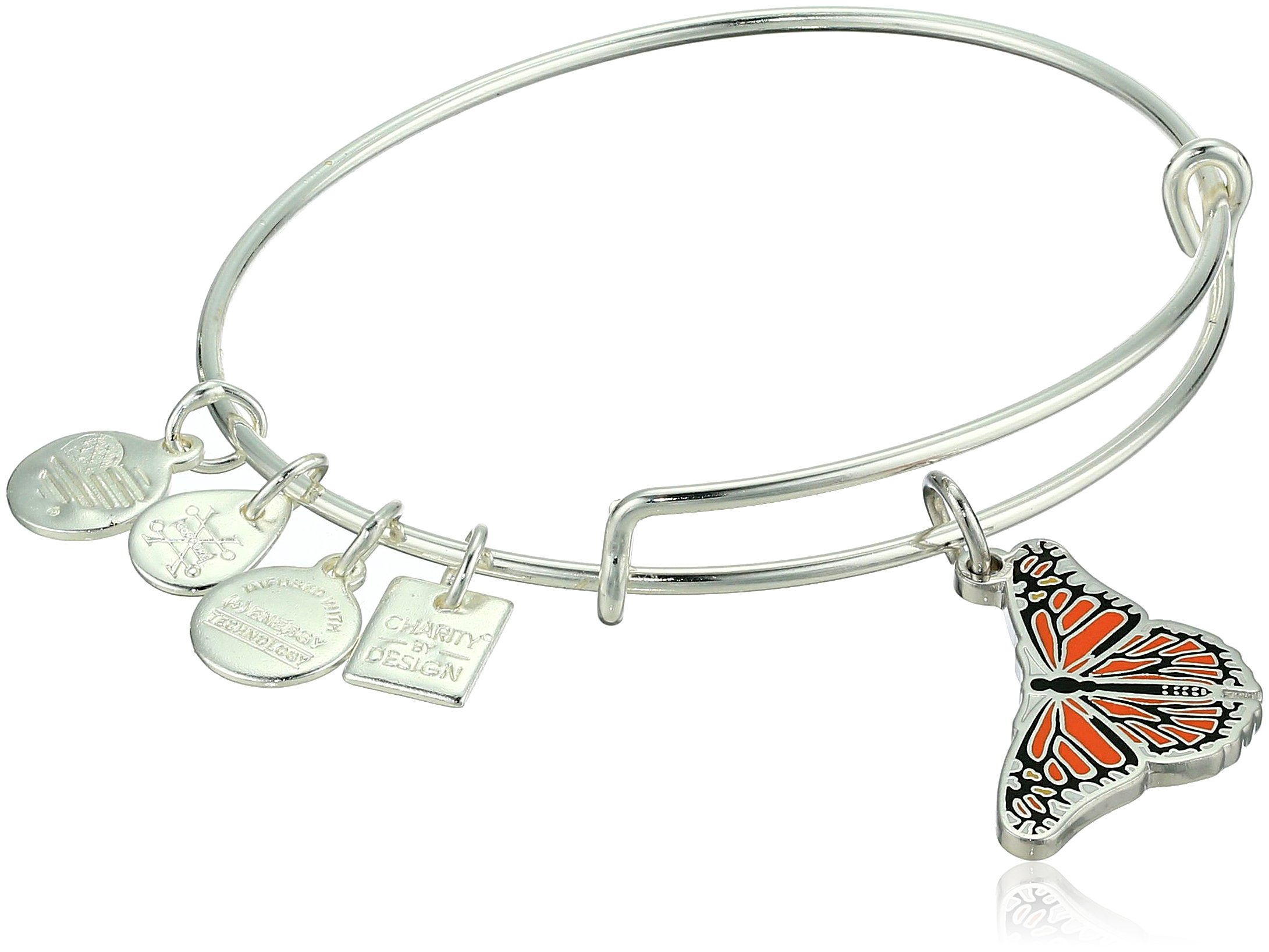 Alex and Ani Women's Charity By Design, Monarch Butterfly Charm Bangle Bracelet, Shiny Silver, Expandable