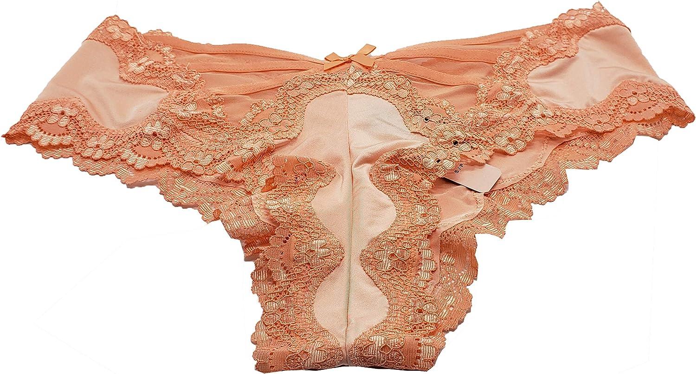 Victorias Secrets Womens Orange LaceTrim Lace Up Cheeky Panty Small