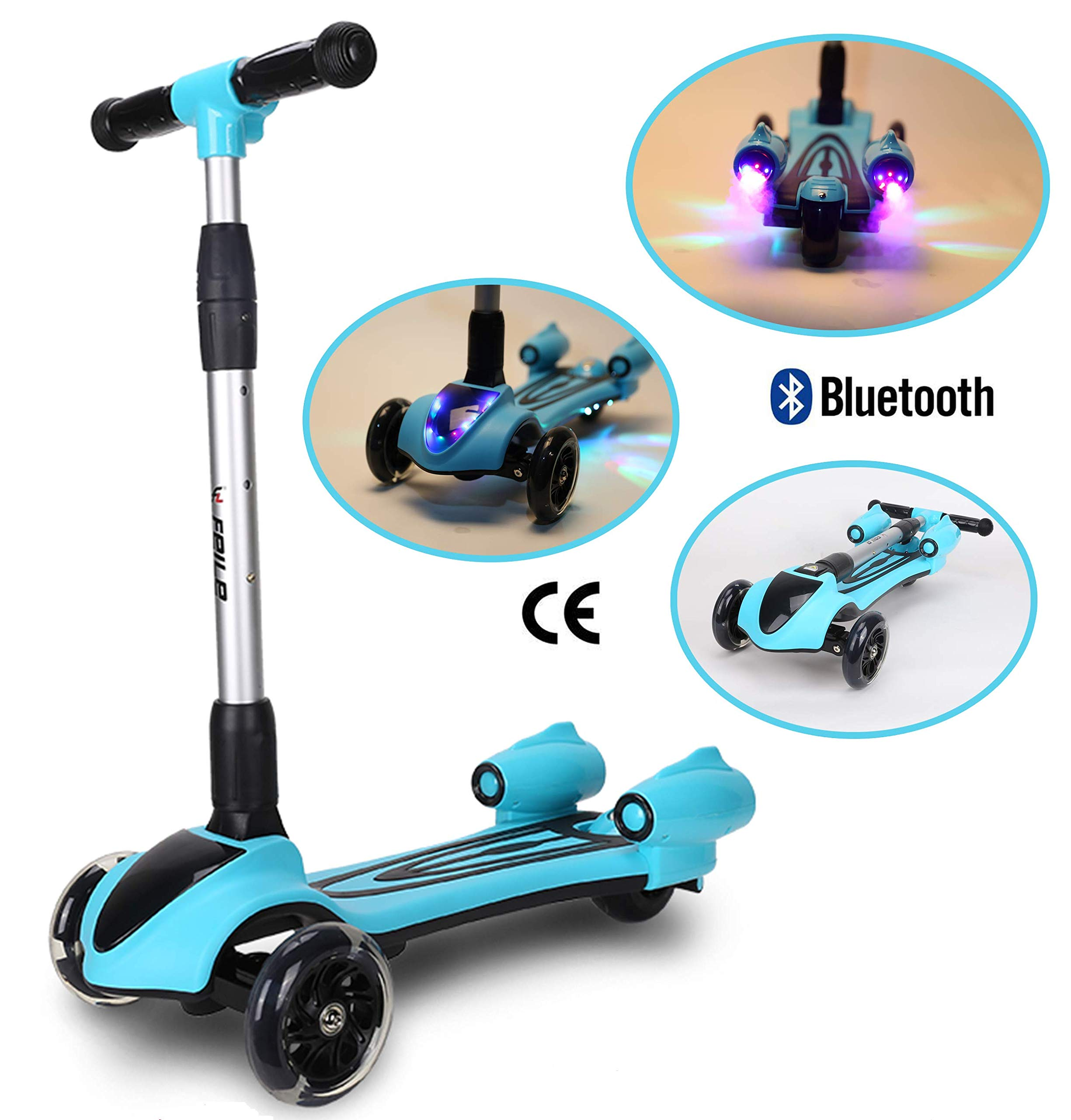 SHRAGIS Adjustable 3 Wheel Kids Scooter for Boys and Girls with Light Up Wheels, Bluetooth Speaker, Smoke Machine - Kick Scooters for Toddlers - Kids Exercise & Toddler Outdoor Toys (Blue)