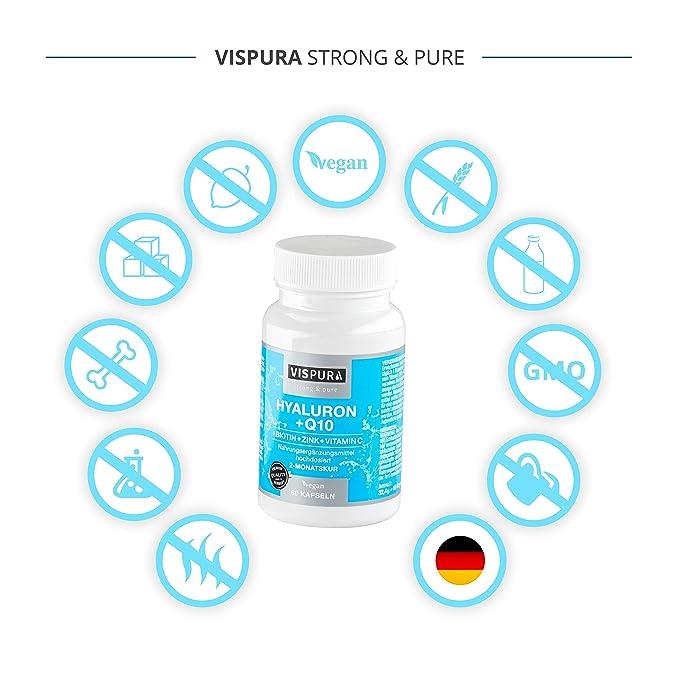 Ácido hialurónico altamente concentrado + coenzimas Q10, cápsulas veganas para una cura de 2 meses, tamaño molecular 500-700 kDa, producto de calidad ...