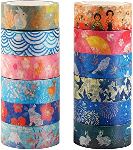 Kyoto Series Masking Washi Tape Collection for Arts and DIY Crafts, Scrapbooking, Bullet Journal, Planner, Gift Wrapping (Set of 12 Rolls)