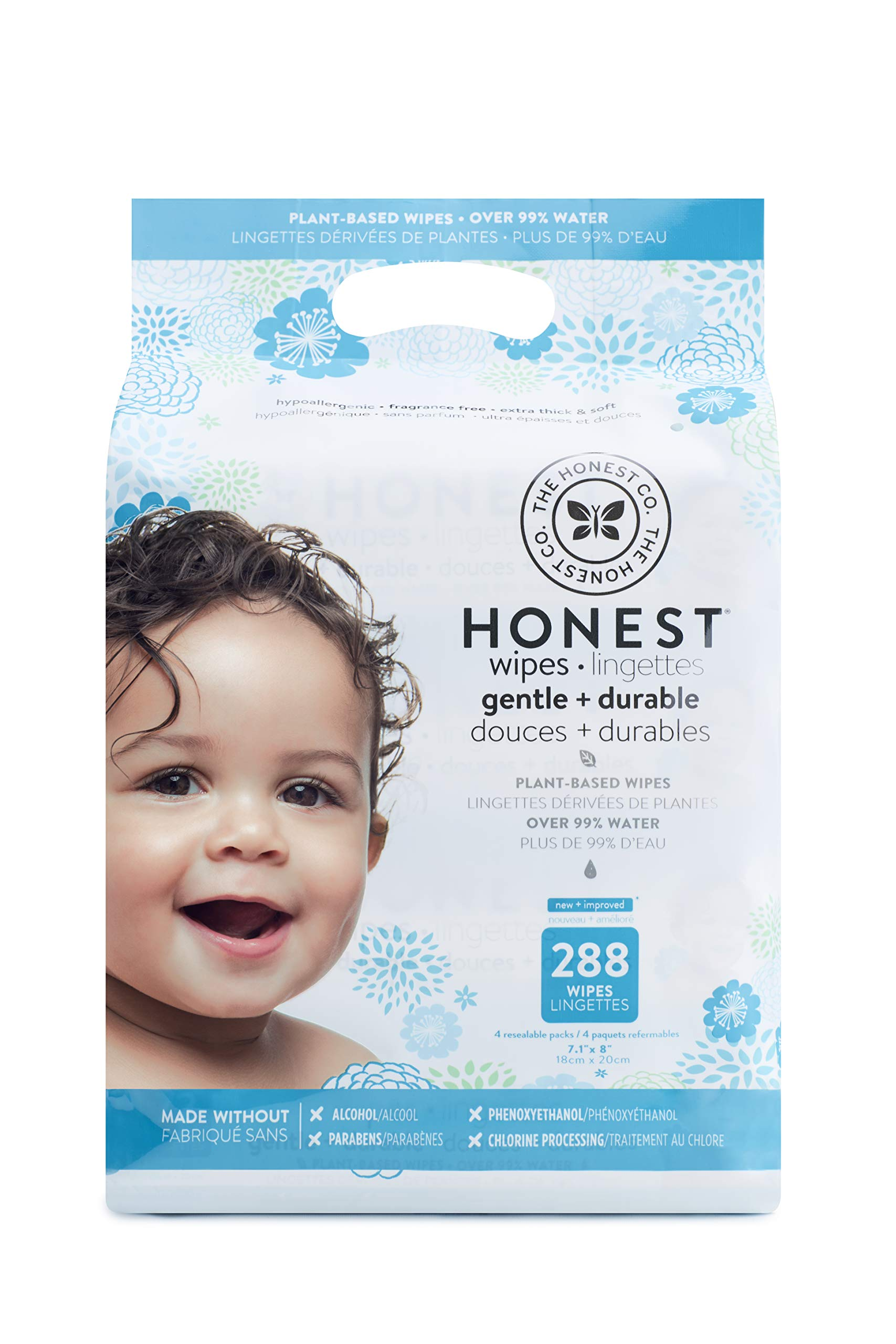 The Honest Company Baby Wipes - Pure and Gentle | Plant-Based and Biodegradable | Alcohol, Fragrance and Paraben Free | Hypoallergenic Honest Wipes | 288 Count by The Honest Company