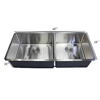 Buy Premium 42 Inch Stainless Steel Super Sized Kitchen Sink Package 16 Gauge Undermount Double Bowl Basin Complete Sink Pack Bonus Kitchen Accessories Ideal For Home Kitchen Renovation Online In Turkey B07bz76496