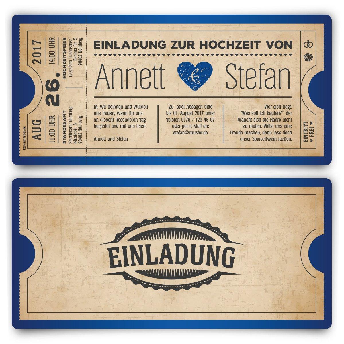 Einladungskarten Zur Hochzeit (30 Stück) Als Eintrittskarte Vintage Herz  Retro Einladung Karte In Rot: Amazon.de: Bürobedarf U0026 Schreibwaren