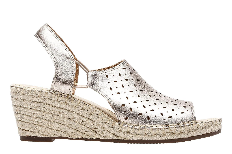 fcd7ba67fb8f Clarks Ladies Slingback Wedge Sandals Petrina Gail - Gold Leather - UK Size  6.5D - EU Size 40 - US Size 9M  Amazon.co.uk  Shoes   Bags
