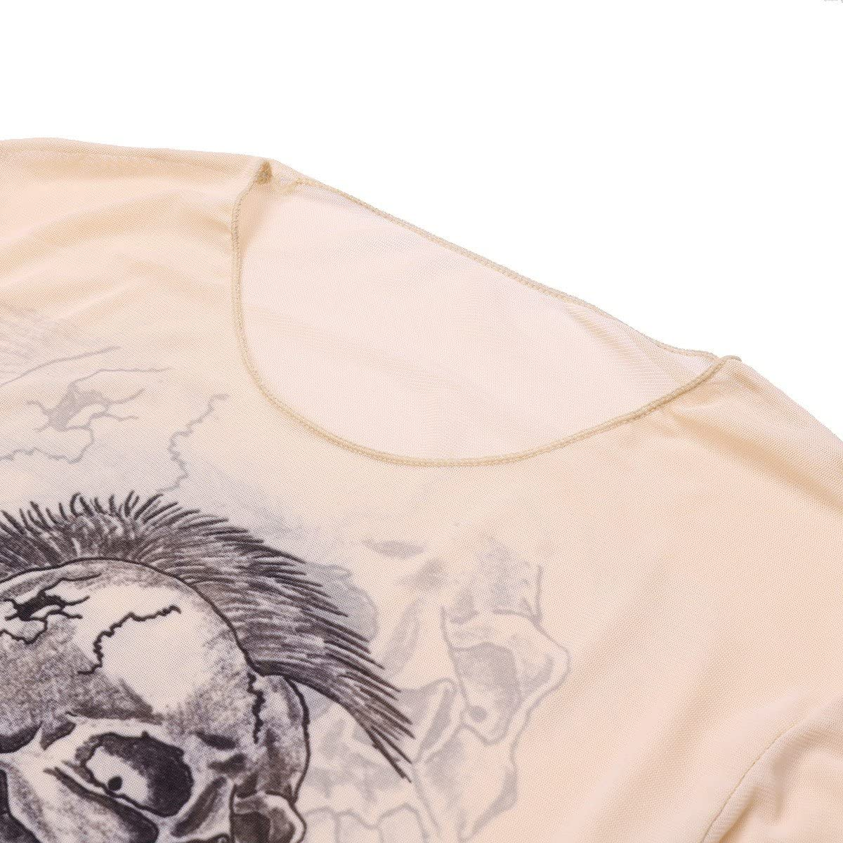 Tiaobug Männer Tattoo-Shirt transparent Herren Langarmshirt Slim Fit Tattoos Unterhemd Unterwäsche