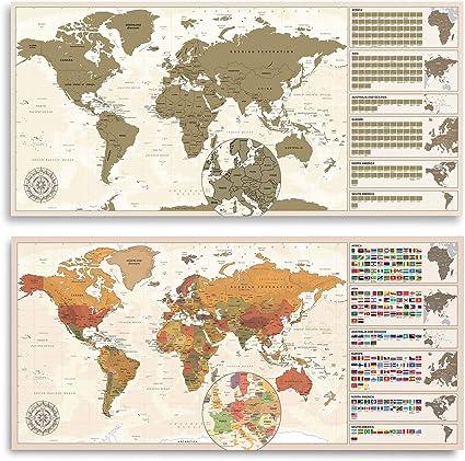 XXL Rubbel Weltkarte Poster - Scratch off World Map 100 x 45 cm: Amazon.es: Hogar