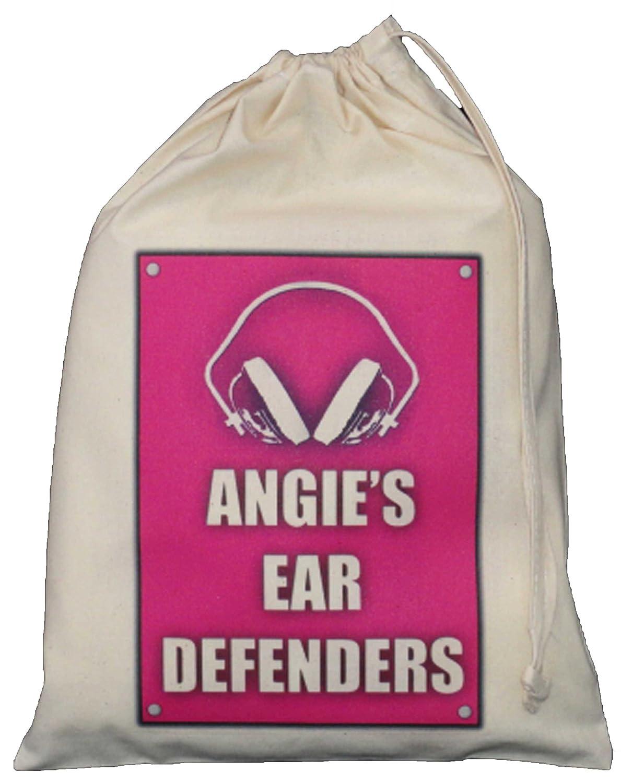 Personalised - Ear Defenders Bag - Small Natural Cotton Drawstring Bag 25cm x 35cm - pink design