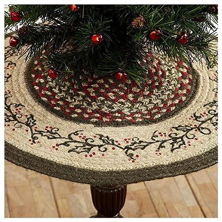 Holly Berry Braded plantilla de yute Mini árbol de Navidad falda ...
