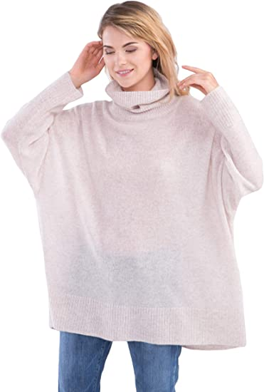 cashmere 4 U 100% Cashmere Turtleneck Sweater for Women Oversize Pullover