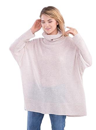 la meilleure attitude cd48f 5ffa3 cashmere 4 U Pull à col roulé Oversized pour Femme 100% Cachemire