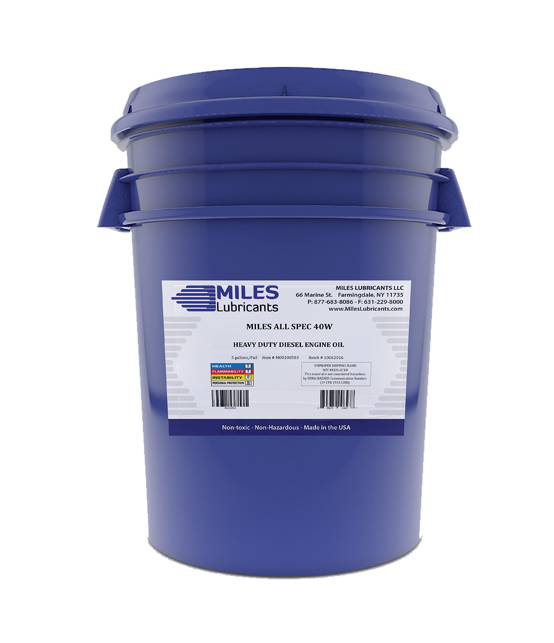 MILES LUBRICANTS All Spec 40W Heavy Duty Diesel Motor Oil 40W 5 Gallon Pail (M00200503)