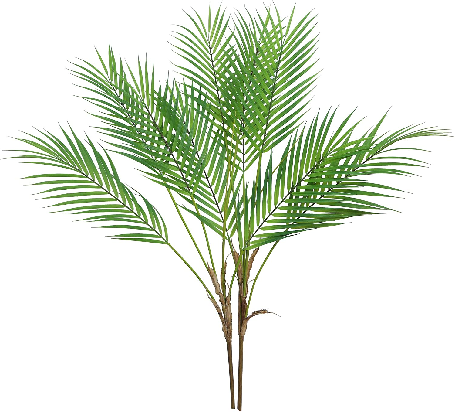 "Trimgrance 2 Pcs 33"" Plastic Artificial Palm Leaves Branch Tropical Artificial Plants Areca Palm Fronds Leaves Bush Greenery for Gedding Luau Jungle Party Home Decor Indoor Hawaiian Leaves"