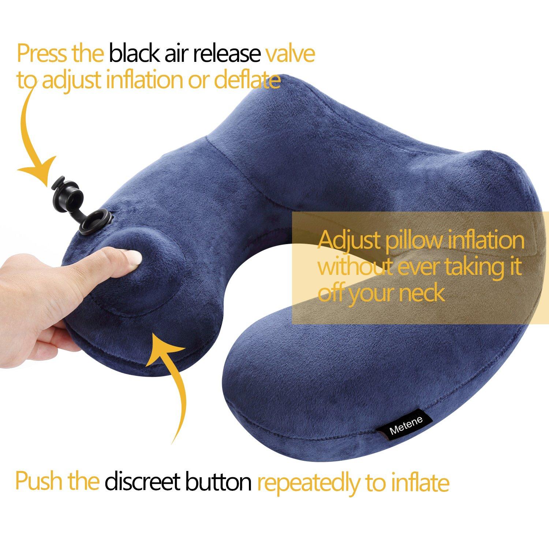 Metene Soft Velvet Inflatable Neck Support Travel Pillows