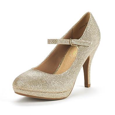 9959c79328f2 DREAM PAIRS Women s LILICA Gold Glitter Mary-Jane Close Toe Stilleto  Platform Heel Pump Shoes