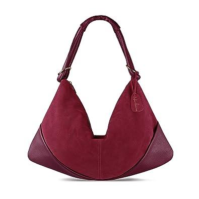 d8d8135dd2 Nico Louise Suede Leather Hobo Bag Top Handle Women Dumpling Bag Large  Handbag