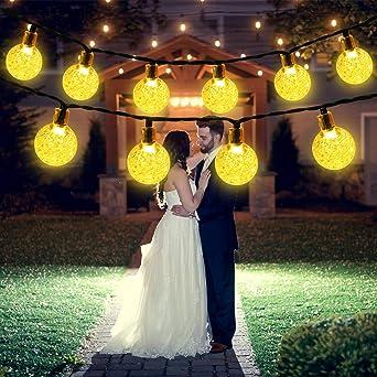 Guirnalda de Luces Solares, 50 LED 8 Modos Bola de Cristal a Prueba de Agua Luces LED Decorativas...