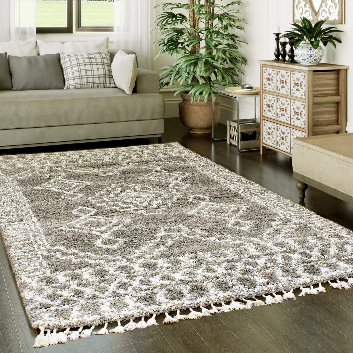 Super Area Rugs Shaggy Trellis Moroccan Rug, 3 x 5 , Gray and White Carpet with Tassels