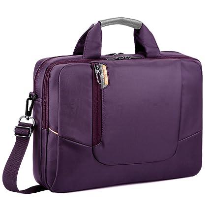 Maletín para ordenador portátil, bolsa de mensajero, con bolsillos, asas y correa de hombro extraíble, color negro morado morado 14 Inch