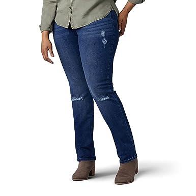 9ce8ba806b7 Lee Women s Plus Size Flex Motion Regular Fit Straight Leg Jean ...