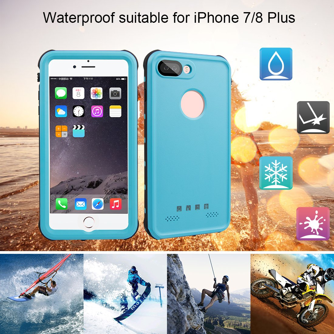 Amazon.com: Red Pepper for iPhone 7 Plus Waterproof Case Full Sealed Under Water Cover for iPhone 8 Plus Shockproof 5.5 inch (Blue): Cell Phones & ...