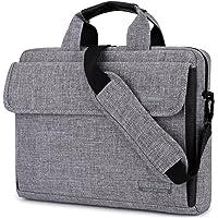 BRINCH Maletín para Ordenadores portátiles maletín Tejido Oxford Bolso de Hombro Unisex para Ordenadores de 15 Pulgadas Notebook/MacBook/Chromebook con Tiras para llevarlo al Hombro y Bolsillos,Gris